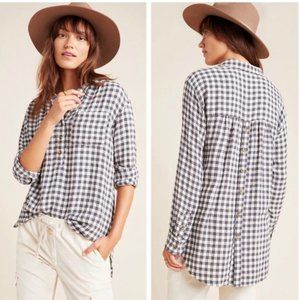 New Anthropologie Isadora Button-Back Black White Check Flannel